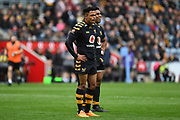 Wasps centre Malakai Fekitoa (13) and Wasps fullback Juan De Jongh (23) during the Gallagher Premiership Rugby match between Wasps and London Irish at the Ricoh Arena, Coventry, England on 20 October 2019.