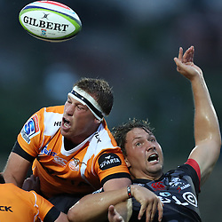 Reniel Hugo of the Toyota Cheetahs and Etienne Oosthuizen of the Cell C Sharks during The Cell C Sharks Pre Season warm up game 2 Cell C Sharks A and Toyota Cheetahs A,at King Zwelithini Stadium, Umlazi, Durban, South Africa. Friday, 3rd February 2017 (Photo by Steve Haag)