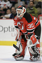 Feb 20, 2007; East Rutherford, NJ, USA; New Jersey Devils goalie Martin Brodeur (30) during the third period  of their game against the New York Rangers at Continental Airlines Arena in East Rutherford, NJ.