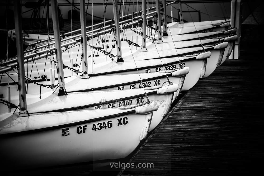 Sailboats in Newport Beach California picture in black and white.
