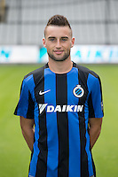 Club's Tuur Dierckx poses for the photographer during the 2015-2016 season photo shoot of Belgian first league soccer team Club Brugge, Friday 17 July 2015 in Brugge