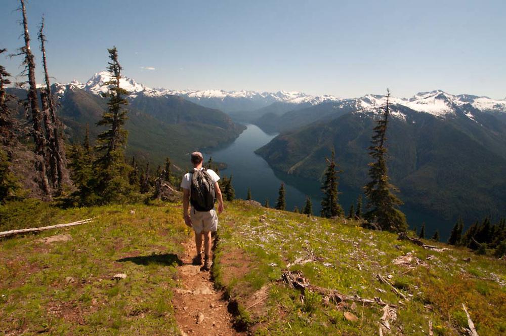 Joe Descending From Desolation Peak, North Cascades National Park, Washington, US