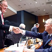 "James Thompson (left) and General Richard Myers, Chairman of the Joint Chiefs of Staff. The 9/11 Commission's 12th public hearing on ""The 9/11 Plot"" and ""National Crisis Management"" was held June 16-17, 2004, in Washington, DC."