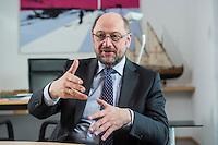 27 FEB 2017, BERLIN/GERMANY:<br /> Martin Schulz, SPD, desig. Parteivorsitzender und Kanzlerkandidat, waehrend einem Interview, in seinem Beuro, Willy-Brandt-Haus<br /> IMAGE: 20170227-01-017