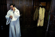 Belgium - Liege April 04, 2007, Priest is calling before a mass at his St-Martin Basilica ©Jean-Michel Clajot