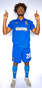 AFC Wimbledon midfielder Ossama Ashley (20) during the official team photocall for AFC Wimbledon at the Cherry Red Records Stadium, Kingston, England on 8 August 2019.