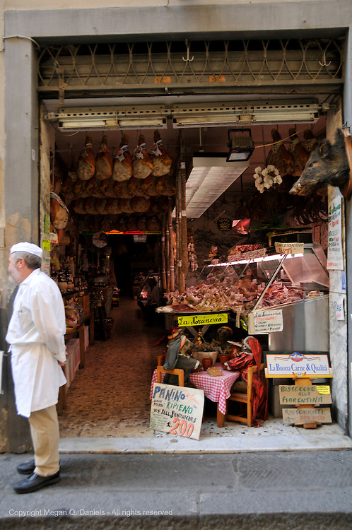 In Florence, there are many open-air meat markets owned by residence that have been there for many years.
