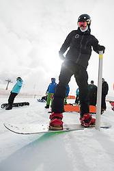 STRONG Evan, banked slalom training, 2015 IPC Snowboarding World Championships, La Molina, Spain