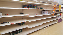© Licensed to London News Pictures. 12/03/2020. London, UK. Sainsbury's store in London runs out of Pasta and Lasagna amid an increased number of cases of Coronavirus (COVID-19) in the UK. 590 cases have been tested positive and ten patients have died from the virus in the UK. Photo credit: Dinendra Haria/LNP