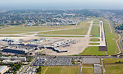 aerial view of Louis Armstrong New Orleans International Airport terminal and surrounding area