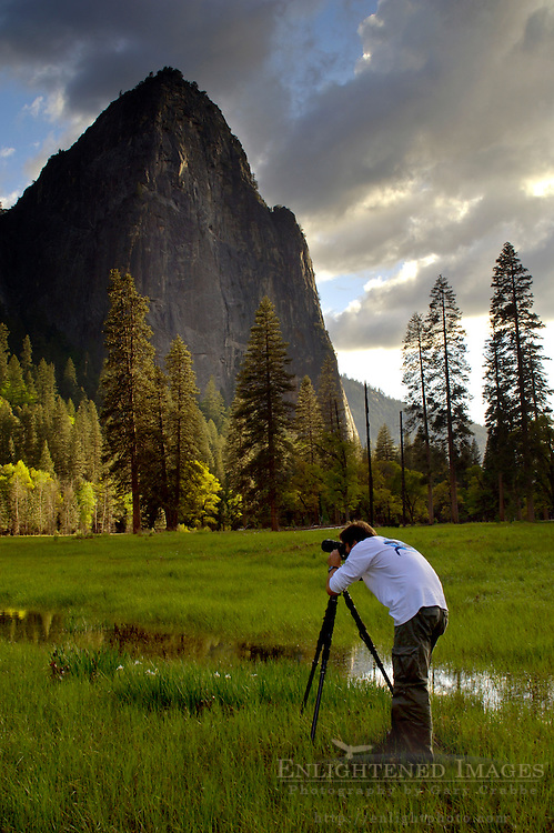 Photographer taking pictures in meadow below Middle Cathedral Rock, Yosemite Valley, Yosemite National Park, California