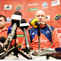16 January 2008; Munster coach Declan Kidney with Anthony Foley during a press conference ahead of their Heineken cup game against London Wasps. Munster Rugby Press Conference, University of Limerick, Limerick. Picture credit; Matt Browne / SPORTSFILE