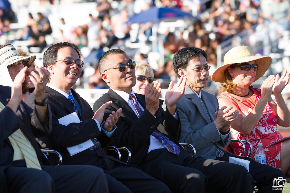 Milpitas Board of Education members Gunawan Alisantosa, Superintendent Cary Matsuoka, Danny Lau, and Vice President Marsha Grilli applaud the achievements of Cal Hills Class of 2012 during graduation on June 15, 2012.  Photo by Stan Olszewski/SOSKIphoto.