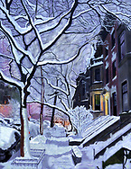 Drawing of first light on snowy Brooklyn street.
