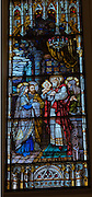 Stained glass window at St. Katharine Drexel Church in Kaukauna depicts the presentation of Jesus in the temple. The scene is described in Luke's Gospel, 2:22-40. (Photo by Sam Lucero)
