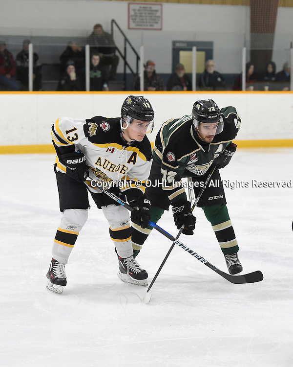 TRENTON, ON - JAN 23,  2017: Ontario Junior Hockey League game between Cobourg and Aurora at the 2017 Winter Showcase , Carmine Alberga #13 of the Aurora Tigers and Theo Lewis #72 of the Cobourg Cougars wait for the face off during the third period.<br /> (Photo by Andy Corneau / OJHL Images)