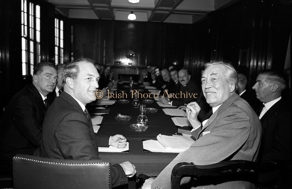 3/11/1967<br /> 11/3/1967<br /> 3 November 1967<br /> <br /> Inaugural Meeting of the Irish Film Industry Committee set up by Mr. George Colley T.D. Minister for Industry and Commerce to look into the problems involved in establishing an Irish Film Industry and to advice him on how they can be solved.<br /> <br /> Pictured is Mr. George Colley T.D. Minister for Industry and Commerce with Mr. John Heuston Film Director with the Committee