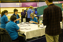 The count for the UK Parliamentary General Election 2017 for the Perth & North Perthshire Constituency takes place at Bell's Sports Centre in Perth.<br /> <br /> The four candidates standing for the seat are Peter Barrett (Scottish Liberal Democrats), Ian Duncan (Scottish Conservatives), David Roemmele (Scottish Labour) and Pete Wishart (SNP)<br /> <br /> Pictured: First votes start to be counted at Perth and North Perthshire
