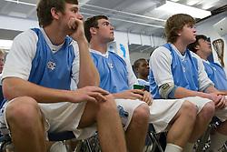 22 March 2008: North Carolina Tar Heels defenseman Emmit Kellar (39), midfielder Michael J. Burns (26) and defenseman Tim Kaiser (22) in the locker room before playing the Maryland Terrapins at Fetzer Field in Chapel Hill, NC.