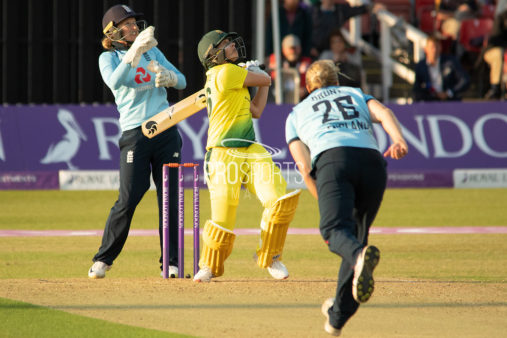 Delissa Kimmince pulls for 4 during the Royal London Women's One Day International match between England Women Cricket and Australia at the Fischer County Ground, Grace Road, Leicester, United Kingdom on 2 July 2019.