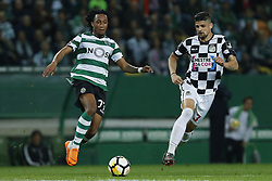 April 22, 2018 - Lisbon, Lisboa, Portugal - Sporting CP Midfielder Gelson Martins from Portugal (L) and Boavista FC Defender Raphael from Brazil (R) during the Premier League 2017/18 match between Sporting CP and Boavista FC, at Alvalade Stadium in Lisbon on April 22, 2018. (Credit Image: © Dpi/NurPhoto via ZUMA Press)