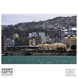 The Michael Fowler Centre and Wellington Town Hall (Wellington Convention Centre) seen from Lambton Harbour, Wellington, New Zealand.<br />
