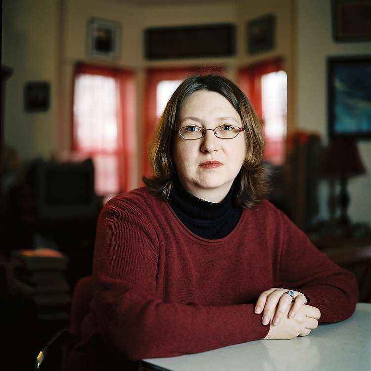 Poet Amanda J. Bradley in her home in Brooklyn, New York. 2011