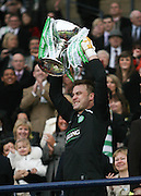 Artur Boruc lifts the League Cup final after Celtic had wooon the final between Rangers and Celtic at Hampden Park -<br /> David Young