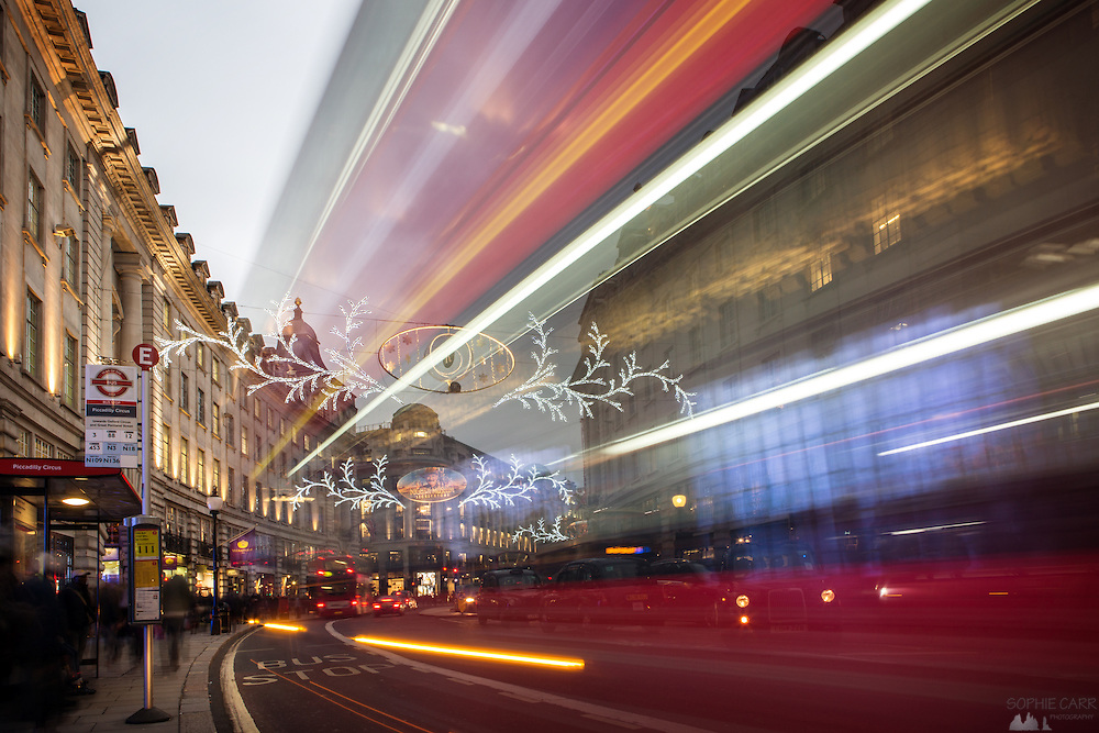 Light trails from a passing bus on London's Regent Street