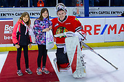 KELOWNA, CANADA - MARCH 02: Second Star of the Game Shane Farkas #1 of the Portland Winterhawks at the Kelowna Rockets game on March 02, 2019 at Prospera Place in Kelowna, British Columbia, Canada. (Photo By Cindy Rogers/Nyasa Photography, *** Local Caption ***