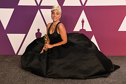 "Lady Gaga, winner of the Best Original Song Award for ""Shallow"" in ""A Star Is Born"" at the 91st Annual Academy Awards (Oscars) presented by the Academy of Motion Picture Arts and Sciences.<br /> (Hollywood, CA, USA)"