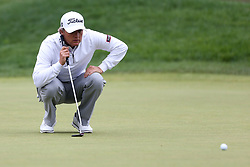 June 23, 2018 - Cromwell, Connecticut, United States - Matt Jones lines up a putt on the 9th green during the third round of the Travelers Championship at TPC River Highlands. (Credit Image: © Debby Wong via ZUMA Wire)