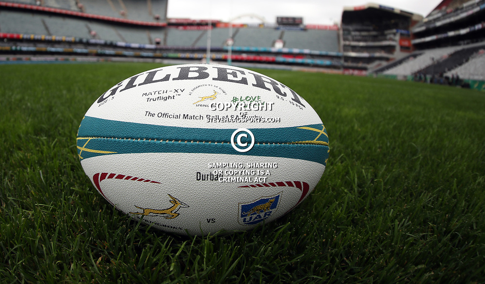 General views of match ball during the South African Springboks Captain's Run at Jonsson Kings<br /> Park ,Durban,South Africa.17,08,2018 Photo by (Steve Haag)