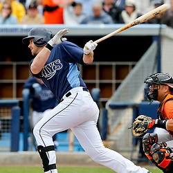 Mar 2, 2013; Port Charlotte, FL, USA; Tampa Bay Rays third baseman Evan Longoria (3) grounds out against the Baltimore Orioles during the bottom of the fifth inning of a spring training game at Charlotte Sports Park. Mandatory Credit: Derick E. Hingle-USA TODAY Sports