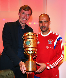 "17.05.2014, T Com, Berlin, GER, DFB Pokal, Bayern Muenchen Pokalfeier, im Bild Josep Guardiola (R), head coach of Bayern Muenchen holds the German DFB Cup Trophy with Michael Hagsphil (C), Marketing Director of Telekom Deutschland Josep Guardiola, Michael Hagsphil, // during the FC Bayern Munich ""DFB Pokal"" Championsparty at the T Com in Berlin, Germany on 2014/05/17. EXPA Pictures © 2014, PhotoCredit: EXPA/ Eibner-Pressefoto/ EIBNER<br /> <br /> *****ATTENTION - OUT of GER*****"