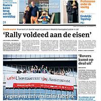 Parool 2 september 2013: studenten protesteren tegen fusie bètafaculteiten Amsterdamse universiteiten