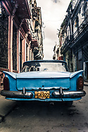 Havana, Cuba - Vintage blue 1950s car