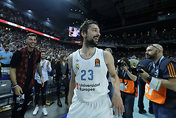 April 27, 2018 - Madrid, Spain - SERGIO LLULL  of Real Madrid celebrates the victory during the Turkish Airlines Euroleague Play Offs Game 4 between Real Madrid v Panathinaikos Superfoods Athens at Wizink Center on April 27, 2018 in Madrid, Spain Photo: Oscar Gonzalez/NurPhoto  (Credit Image: © Oscar Gonzalez/NurPhoto via ZUMA Press)