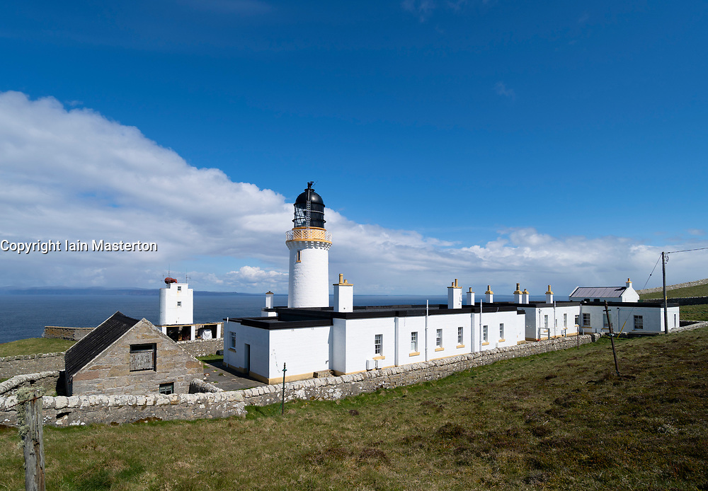 Dunnet Head lighthouse on the North Coast 500 scenic driving route in northern Scotland, UK