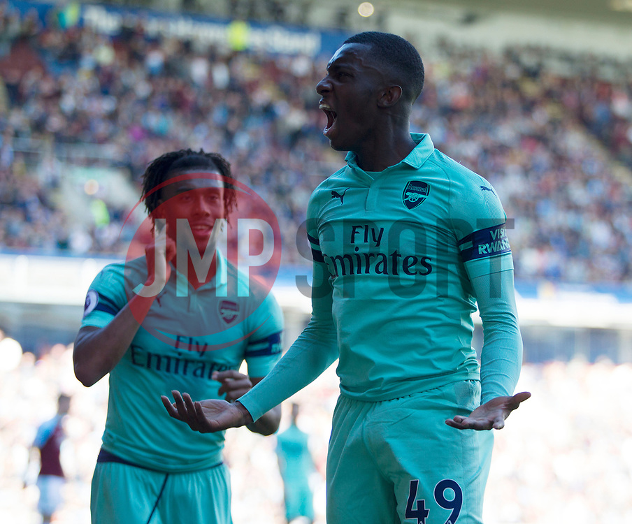 Edward Nketiah of Arsenal celebrates after scoring his sides third goal - Mandatory by-line: Jack Phillips/JMP - 12/05/2019 - FOOTBALL - Turf Moor - Burnley, England - Burnley v Arsenal - English Premier League