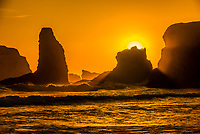 Dramatic rock formations and sea stacks at Bandon beach, Oregon USA.