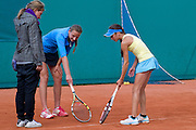 (L) Refereee &amp; (C) Dorota Szczygielska from Poland and (R) Amina Anshba from Russia during tennis tournament Tomaszewski Cup 2013 at Legia's courts in Warsaw.<br /> <br /> Poland, Warsaw, September 03, 2013<br /> <br /> Picture also available in RAW (NEF) or TIFF format on special request.<br /> <br /> For editorial use only. Any commercial or promotional use requires permission.<br /> <br /> Photo by &copy; Adam Nurkiewicz / Mediasport