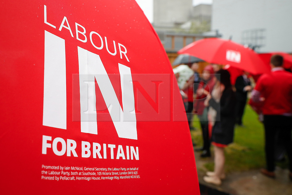 © Licensed to London News Pictures. 10/05/2016. London, UK. LABOUR IN FOR BRITAIN signage on an umbrella before the official unveiling of a new Labour battle bus, by Labour Party leader Jeremy Corbyn and Alan Johnson, Chairman of 'Labour In for Britain'.  Gloria De Piero, Shadow Minister for Young People and Voter Registration is also due to attend. Photo credit: Peter Macdiarmid/LNP