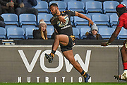 Wasps wing Zach Kibirige(14) heads for the line during the Gallagher Premiership Rugby match between Wasps and Saracens at the Ricoh Arena, Coventry, England on 21 February 2020.