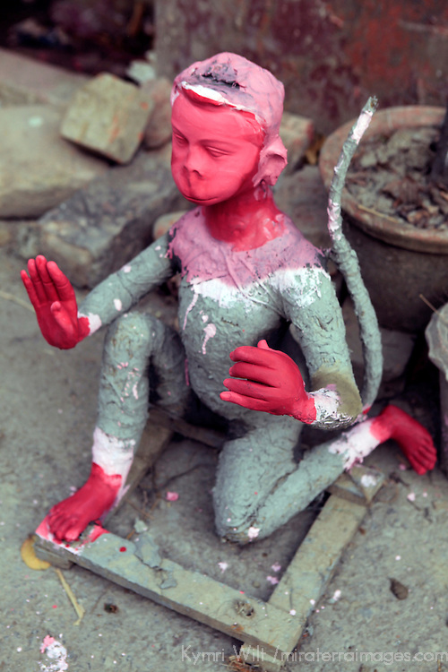 Asia, India, Calcutta. Clay monkey diety in the potter's village of Kumartuli in Calcutta.