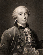 Georges-Louis Leclerc, Comte de Buffon (1707-88) French naturalist; author of 44 volume 'Histoire Naturelle' 1749-67. Stipple engraving after portrait of Henri Drouais painted 1761. From 'The Gallery of Portraits' by Charles Knight (London, 1833).