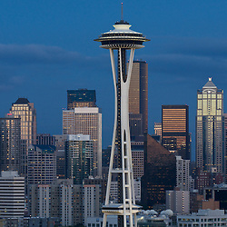 An evening view of the Seattle skyline from Kerry Park in the Queen Anne neigborhood of Seattle, Washington.