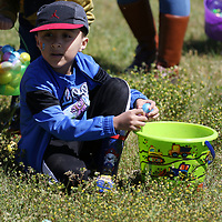 Cain Narcia, 5, fills his bucket with eggs Saturdat at the Easter Egg Hunt at Veterans park hosted by Connect Church and Whitehill MB Church