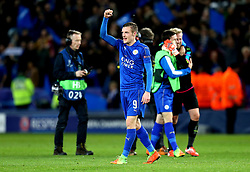 Jamie Vardy of Leicester City celebrates his sides win over Sevilla - Mandatory by-line: Robbie Stephenson/JMP - 14/03/2017 - FOOTBALL - King Power Stadium - Leicester, England - Leicester City v Sevilla - UEFA Champions League round of 16, second leg