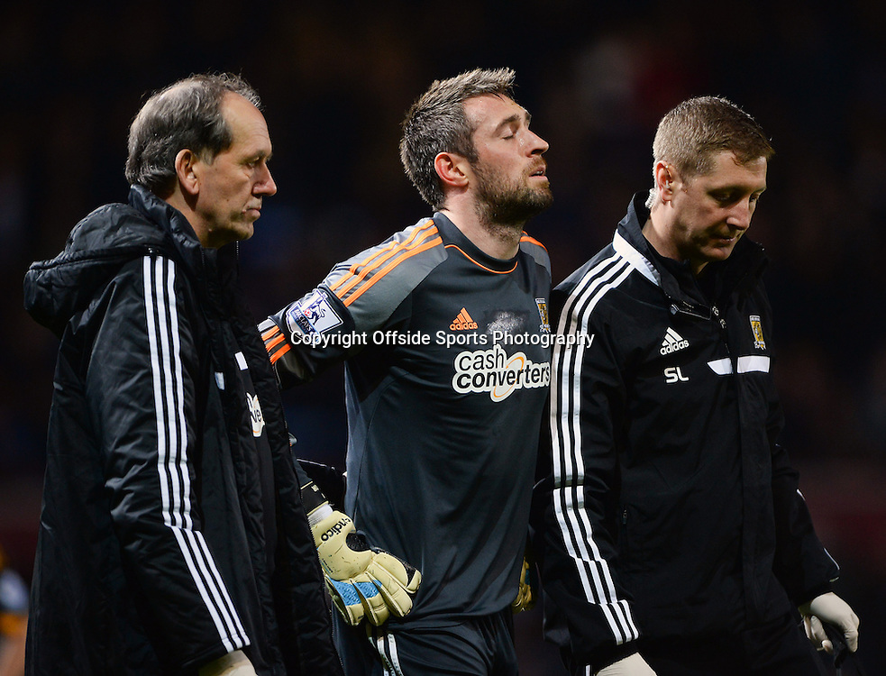 26 March 2014 - Barclays Premier League - West Ham United v Hull City - The injured Allan Mcgregor of Hull City reacts after being sent off - Photo: Marc Atkins / Offside.
